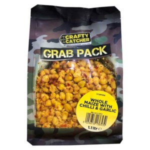 Crafty Catcher Whole Maize, Chilli & Garlic | Prepared Particles 1.1L | Grab Pack