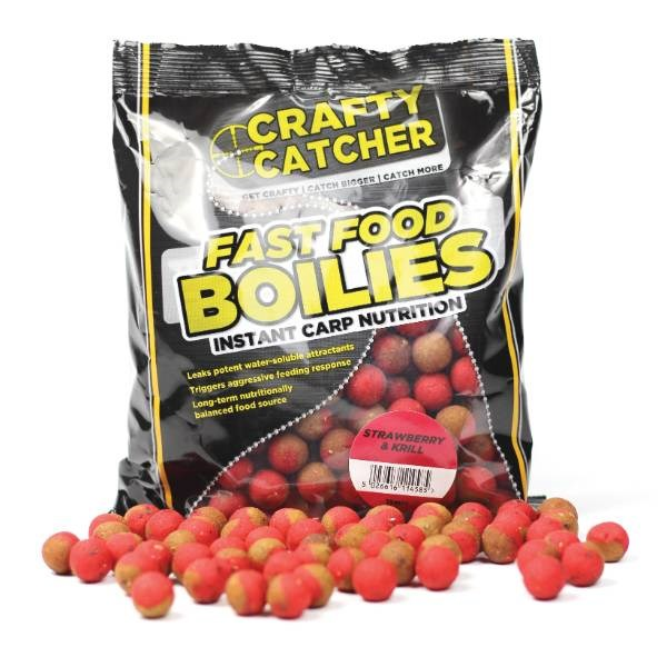 Crafty Catcher Fast Food Strawberry & Krill | Boilies | 15mm | 500g