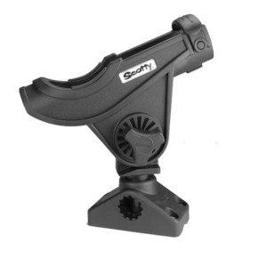 Scotty Baitcaster Spinning Rod Holder Black + 0241 Side-Deck Mount